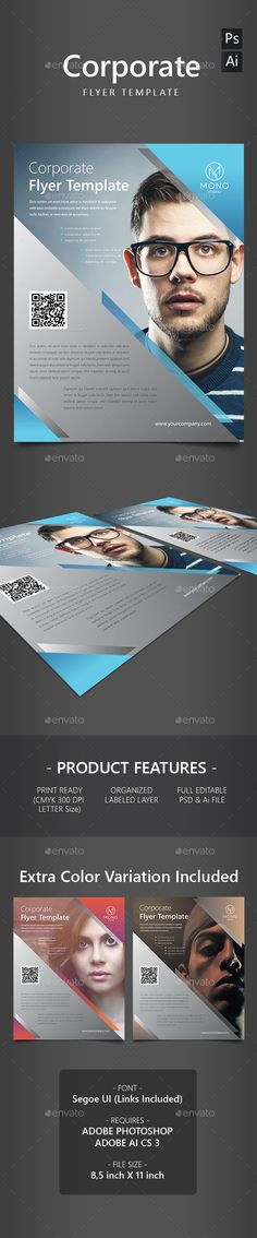 """Corporate Flyer Template"".  This Ai & Psd file set on 8,5 inch x 11 inch (Letter) + bleed. 100% ready to print with 3 colors variation and well organized in layers. http://graphicriver.net/item/corporate-flyer-template/13819828"