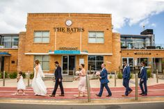 The Beatles's iconic Abbey Road inspired wedding photo at the Baths Middle Brighton. Photo by Twenty One Studio Wedding Photographer Melbourne, Melbourne Wedding, Capture Photo, Let's Get Married, Pretty Images, Abbey Road, Bridal Shoot, Our Wedding Day, Best Photographers
