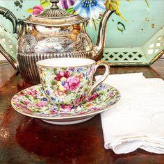 Darling Vintage Chintz Occupied Japan Tea by RoyalPeacockAntiques