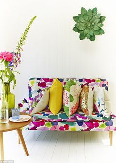 Interiors: Put a bold spin on he new floral prints by going large and using them sparingly Watercolor Fabric, Bluebellgray, Upholstery Fabric For Chairs, Sofa Colors, Amazing Spaces, Velvet Cushions, Bedroom Styles, Playroom, Love Seat