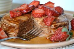 Recipe: Cocoa Buttermilk Pancakes with Strawberries