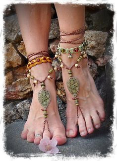 Woodland FAIRY BAREFOOT sandals Pea Green Tribal ANKLETS Gypsy Sandals Garden Wedding Filigree Teardrops Nature jewelry via Etsy