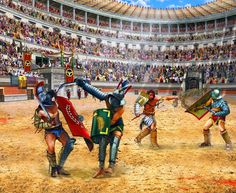 Gladiators dueling in the Colosseum