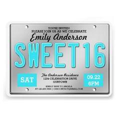 Aqua License Plate Sweet 16 Party Invitations
