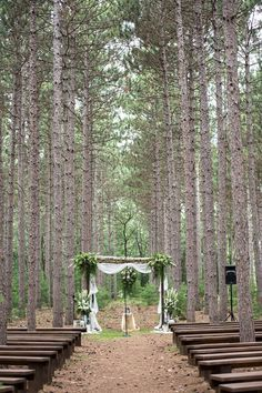 Birch Arch Tree Grove Outdoor Wedding Wisconsin Romantic Venue Unique Vintage Lace Mason Jars Flowers Navy