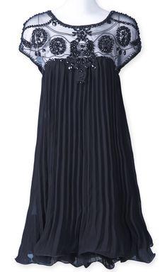 Black Short Sleeve Lace Pleated Chiffon Dress