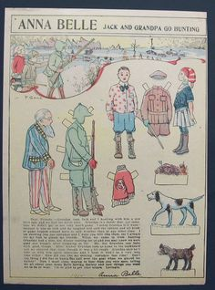 Anna Belle Jack and Grandpa Go Hunting paper doll 1911  / Ebay