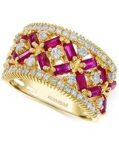 EFFY Ruby (1-3/4 ct. t.w.) and Diamond (5/8 ct. t.w.) Ring in 14k Rose Gold
