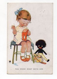 OLD POSTCARD MABEL LUCIE ATTWELL BLACK DOLL YOU KNOW WHAT BOYS ARE PM 1925 in Collectables, Postcards, Artist Signed | eBay