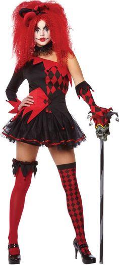 Ladies Halloween Jester Venetian Elbow Length Harley Clown Quinn Costume Gloves
