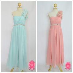 Long evening dresses - Pastal color