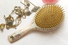 Retro Wooden Hairbrush Hand Painted Hair Brush by InspirellaDesign