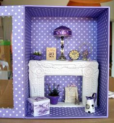 bjd-dioramas:  A fireplace from a picture frame.