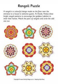 All About Rangoli, and Rangoli Crafts For Kids from Activity Village India For Kids, Art For Kids, Crafts For Kids, Arts And Crafts, Diwali For Kids, Rangoli Patterns, Rangoli Designs, Diwali Craft, Diwali Eyfs
