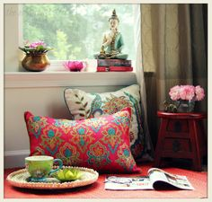 <br /> Give your home an ethnic touch with these Ethnic Living Room Decor Ideas! Design and decorate your living room with colorful ethnic prints and antique furniture. Make your home decor more vibrant, pleasant, and harmonious. Ethnic Decor, Asian Decor, Indian Home Decor, Diy Home Decor, Boho Decor, Meditation Corner, Buddha Meditation, Cosy Home, Home Decoracion
