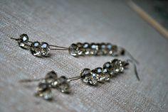 Long Beaded Earrings Smokey Glass Beads by letemendia on Etsy, $19.00