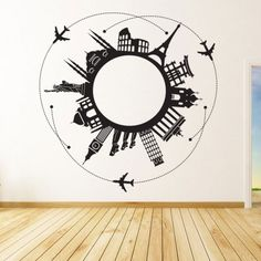 <p>Around the World is a trendy decal combining the major monuments in the world. This decal gives a modern and stylish look to your wall.</p>