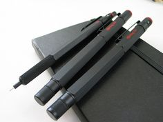 "Rotring 600 series, ""old style"", black: mechanical pencil, rollerball, fountain pen"