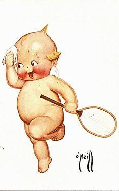 Kewpie Post Card, Artist Signed, ONeill Kewpie Wiping Brow with Racket Vintage Greeting Cards, Vintage Postcards, Paper Dolls, Art Dolls, Bisque Doll, Vintage Labels, Felt Animals, Vintage Pictures, Vintage Prints