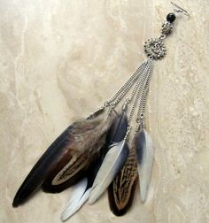 Long Feather Earring  Cruelty Free Single by peacefrogdesigns, $24.00