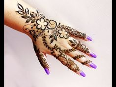 Easy Beautiful Heena Mehndi Design for Hand - YouTube