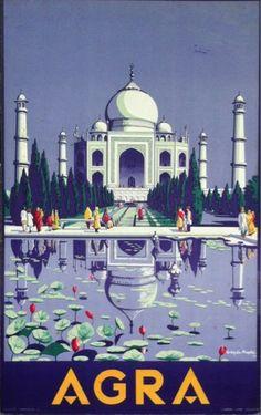 1937 Vintage Travel Poster Agra, India - Taj Mahal. Artist: Gobinda Mahal