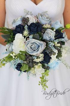 Navy blue baby blue dusty blue white wild flower fake flowers artificial cheap round bridal bouquet  Wedding Bouquet