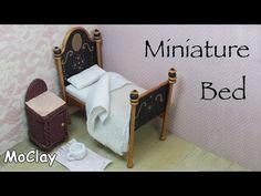 Dollhouse furniture tutorial. DIY miniature vintage bed - YouTube