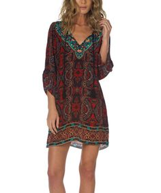 Loving this Elina Cherry Ornate Silk Tunic Dress on #zulily! #zulilyfinds