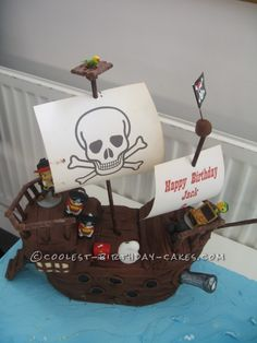 Jake and the Neverland Pirates Ship Cake. (Use Hershey treasures for a treasure chest.)
