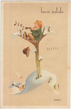 BUON NATALE - AUGURALE - BAMBINO CON FLAUTO - ILLUSTRATORE BONFANTI 1948