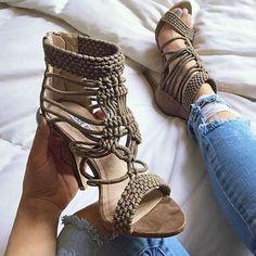 Multi Strap Open Toe Sandal Heels