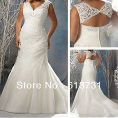 ML3147 New Arrival Cap Sleeves Mermaid V-neck Appliques Organza Lace Up Open Back Plus Size Wedding Dresses Bridal Gowns 2013