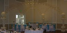 Beautiful Balloon Canopy over the Wedding party tables. Clear balloons mixed with white balloons makes this canopy very elegant and beautiful.