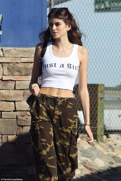 Out and about! Cindy Crawford's 16-year-old daughter Kaia Gerber was seen Thursday wearing a top that read: 'Just A Girl'