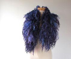 Felt Fur Curly scarf Purple Violet fur collar Hand by galafilc