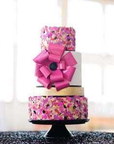 Colorful Edible Confetti Large Pink Bow Cake