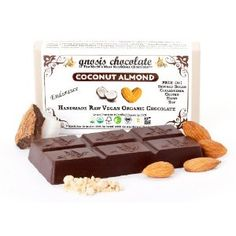 Gnosis Coconut Almond Raw Chocolate Bar - 2oz -                                                                         Raw Vegan Organic Kosher Handmade Free of: Refined Sugar, Dairy, Soy, Gluten, GMO, and Cholesterol Sweetened with Low Glycemic Agave Nectar Enhanced with Blue-Green Algae for vitamins and minerals and Maca Root for Endurance Chocolate from Bali, Ecuador, and Peru and Almonds direct from the Farm!