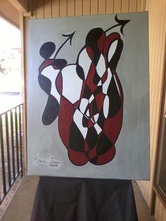 30x40 Burgundy Black& White Abstract                      $249.95