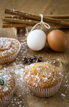 Homemade muffins with star anise cinnamon and mint