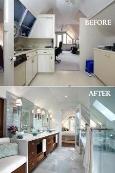 Attic Master Bedroom bathroom in attic space | bathroom built into former attic space