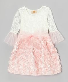 Take a look at this Crème Lace & Pink Rosette Dress - Toddler & Girls on zulily today!