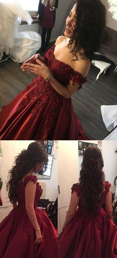 Maroon Wedding Gowns,Burgundy Evening Dresses,Lace Off Shoulder Prom Dress,MB 474