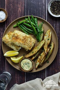 Lemon Green Beans, Roasted Green Beans, Cod Recipes, Healthy Recipes, Healthy Meals, Seafood Dishes, Seafood Recipes, Rockfish Recipes, Pacific Cod