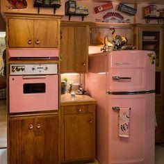 Big Chill lemonade pink retro fridge making a statement in this country kitchen Beach Kitchen Decor, Copper Kitchen Decor, White Kitchen Decor, Kitchen Decor Themes, Cute Kitchen, Farmhouse Kitchen Decor, Vintage Kitchen, Kitchen Stuff, Country Kitchen