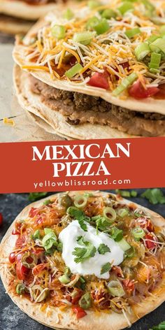 Skip the drive thru and make Mexican Pizza at home, with layers of crispy flour tortilla, seasoned ground beef, refried beans, and your favorite toppings. for dinner for two main dishes Mexican Dishes, Mexican Food Recipes, Ethnic Recipes, Mexican Entrees, Cheesy Recipes, Tortillas, Planning Budget, Ground Beef Recipes Easy, Refried Beans