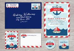 Ahoy! Nautical Baby Shower Invites // by Origami Prints #ocean #beach #themed #invitations #invitation #navy #red #white #blue #sail #boat