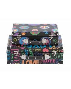 Set of Colorful Luggage Cases with Silver Metal Accents is an excellent add-on to embellish your kid's room. With vivid colors all over it, this set of cases is a hip and fashionable bauble to elevate the beauty of your bedroom. Complete with a handle, metal locks, and baubles, these cases are carefully and astutely designed and modeled flawlessly by craftsmens.