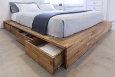 Platform Bed With Storage, Diy Platform Bed, Under Bed Storage, Storage Beds, Diy Storage, Storage Drawers, Diy Drawers, Storage Design, Bed Frame Storage