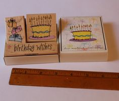 Hero Arts, Birthday Block stamps, a box set with cake, birthday wishes, presents, three stamps, destash card making, scrapbooking supplies by AssemblageSupply on Etsy